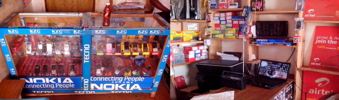 Electronics shop and computer access point that uses SharedSolar as its energy provider. Shop located in Nyaktunda Village, in Ruhiira region of Uganda.